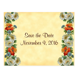 Save the Date Poppies Cornflowers Postcard