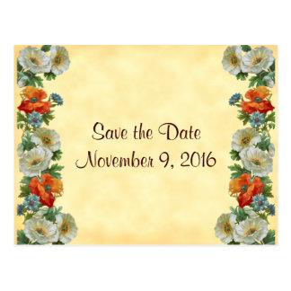 Save the Date Poppies Cornflowers Postcard