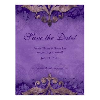 Save the Date Postcard Antique Verdigris Purple Br