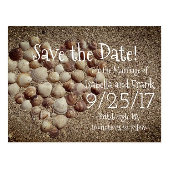 Save The Date Postcard - Beach / Seashells