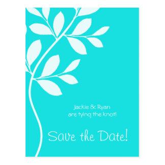 Save the Date Postcard Blue Leaf Branch