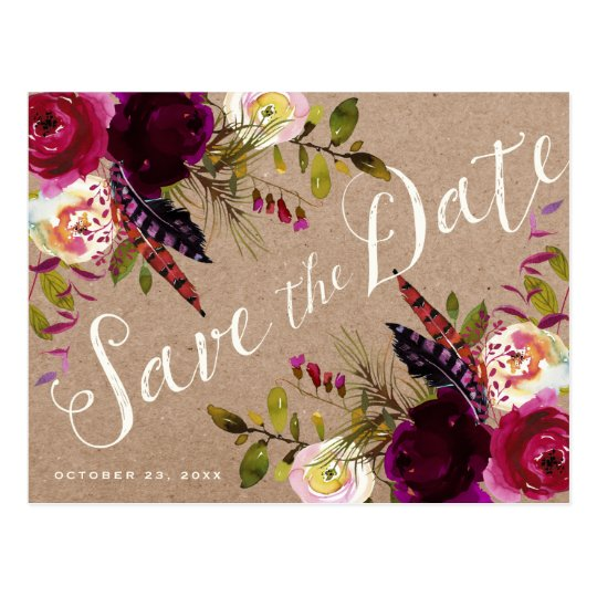 SAVE THE DATE POSTCARD | Floral Rustic Boho