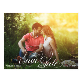 Save the Date postcard for sunflower wedding