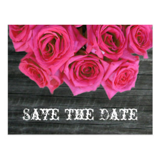 Save The Date Postcard - Hot Pink Roses & Barnwood