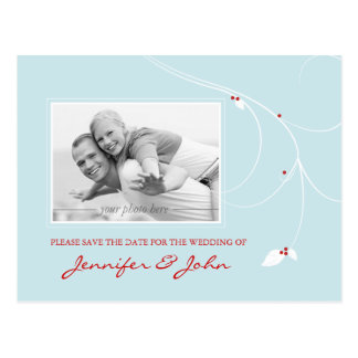 Save the Date Postcard Ice Blue Leaf Berries