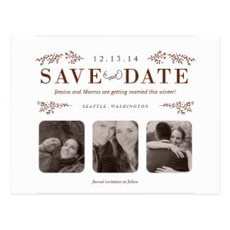 Save the Date Postcard in Chocolate Brown