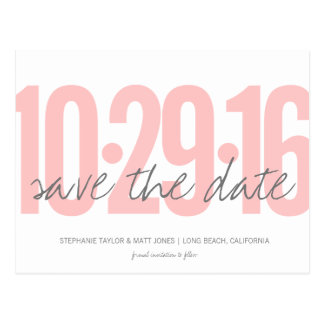Save The Date Postcard, Large Date, blush pink Postcard