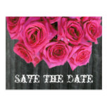 Save the Date Postcard - Rose Bouquet and Barnwood