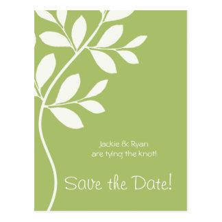 Save the Date Postcard Sage Green Leaf Branch