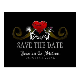 Save the Date Postcard - Skeletons with Heart