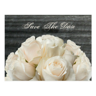 Save The Date Postcard - White Roses & Barnwood