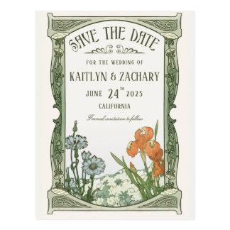 Save the Date Postcards | Floral Art Nouveau