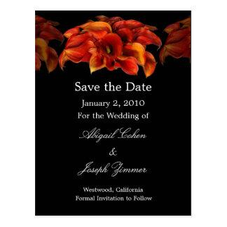 Save the date postcards, orange calla lillies postcard