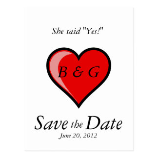 Save the Date Postcards She said Yes