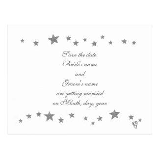 Save the date postcards, silver stars border postcard