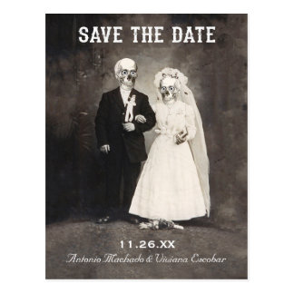 Save the Date Postcards (Vintage Skeleton Couple)