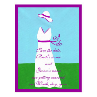 Save the date postcards, wedding dress, purple postcard