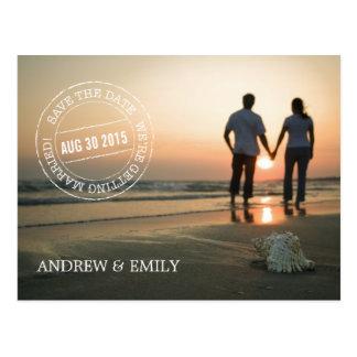 Save the Date Postmark Circle Photo Postcard