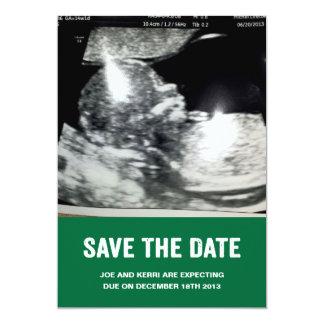 "Save the Date Pregnancy Announcement 5"" X 7"" Invitation Card"