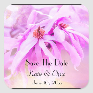 Save The Date  Pretty Pink Flower Blossoms Square Sticker