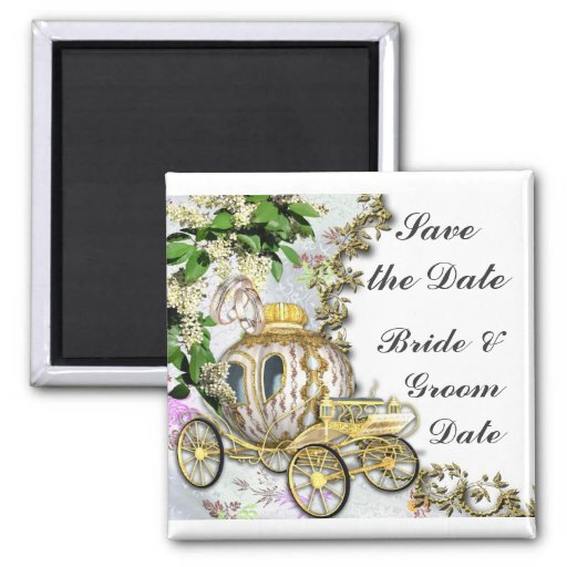 Save the Date Princess Carriage Wedding Magnets Fridge Magnet