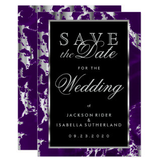 Save the Date Purple and Silver Marble Card