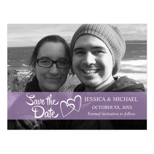 Save the Date Purple Banner Postcard