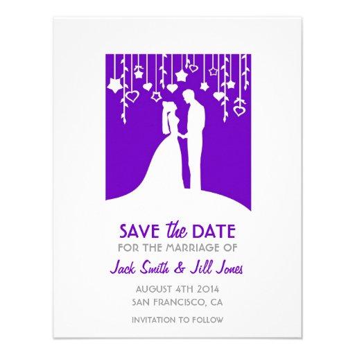 Save the date - purple bride and groom silhouettes custom invitations