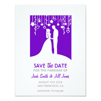"""Save the date - purple bride and groom silhouettes 4.25"""" x 5.5"""" invitation card"""
