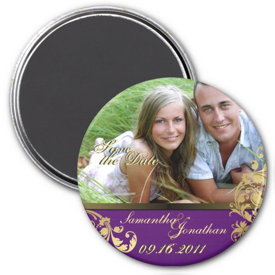Save the Date Purple & Gold Shimmer Floral Magnet