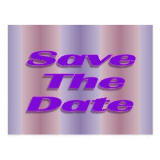 save the date purple postcard