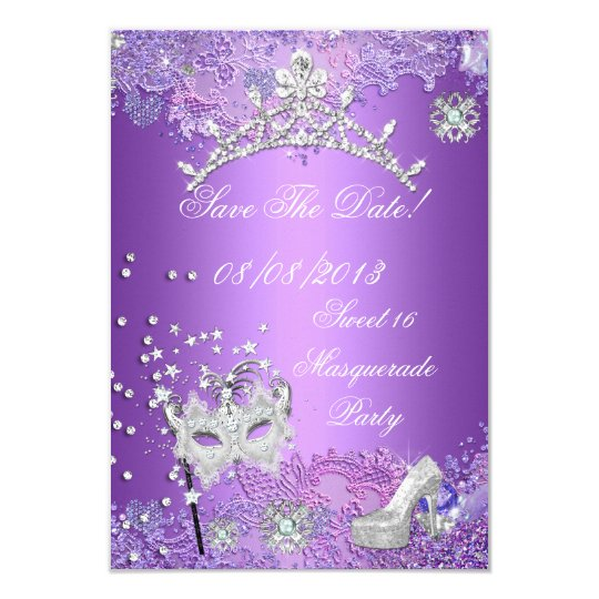 Save The Date Purple Sweet  Sixteen 16 Masquerade Card