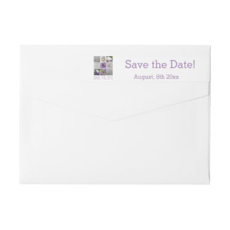 Save the Date Purple Wedding Collage Wrap Around Label