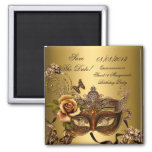 Save The Date Quinceanera Sweet 16 Masquerade Gold Square Magnet