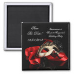 Save The Date Quinceanera Sweet 16 Masquerade Red Square Magnet