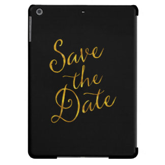 Save The Date Quote Gold Faux Foil Engagement iPad Air Cover