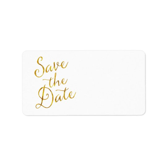 Save The Date Quote Gold Faux Foil Engagement Label