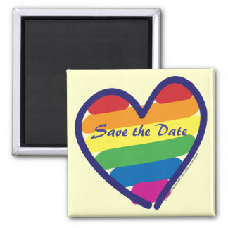 Save the Date/Rainbow Wedding/Gay Pride Square Magnet
