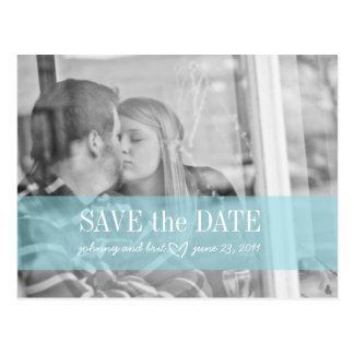 save the date red blue postcard