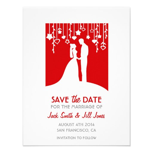 Save the date - red bride and groom silhouettes custom invite