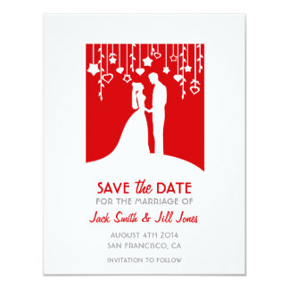 """Save the date - red bride and groom silhouettes 4.25"""" x 5.5"""" invitation card"""