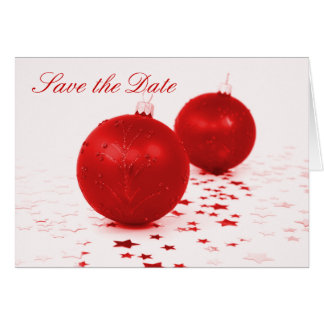 """Save the Date"" - Red Christmas Tree Ornaments Card"