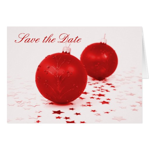 """""""Save the Date"""" - Red Christmas Tree Ornaments Cards"""