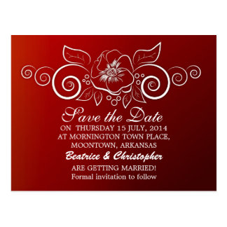 save the date red elegant postcards