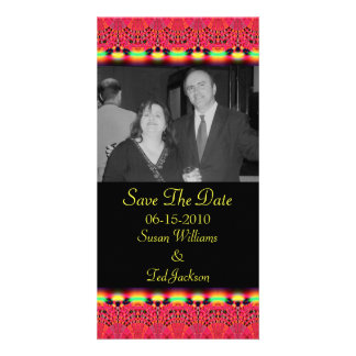 save the date red lace photo cards