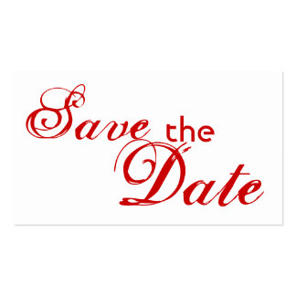 Save the Date red letter custom business cards