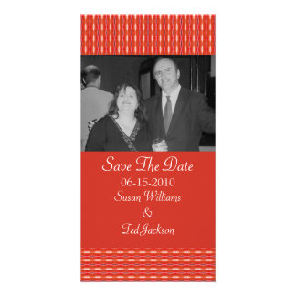 Save the Date red pattern Custom Photo Card