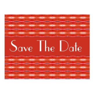 Save the Date red pattern Postcard