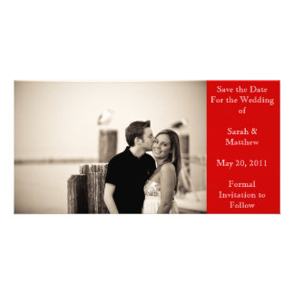 Save the date - red photo card template