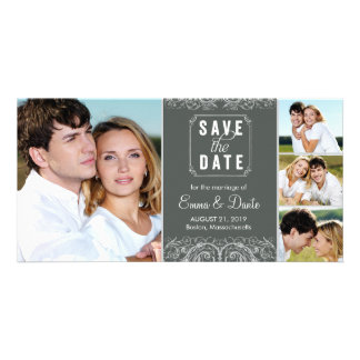 Save the Date | Regal Union Slate Announcement Photo Greeting Card